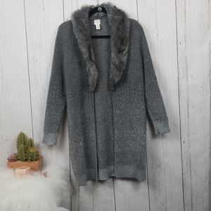 Chico's cardigan with Faux Fur Collar 1